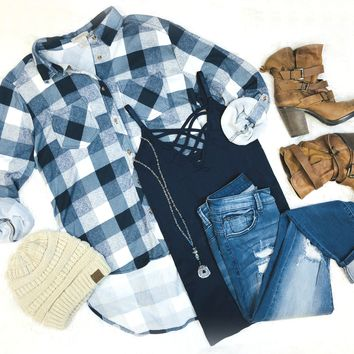What I like about you Plaid Flannel Top: Navy/Ivory/Blue