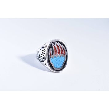 Vintage 1980's Native American Southwestern Style Turquoise Stone inlay Men's Bear Paw Ring