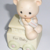 Vintage Precious Moments newborn baby train figurine, vintage 1985
