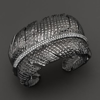 Michael Aram Black Rhodium Plated Sterling Silver Feather Cuff with Diamonds | Bloomingdales's