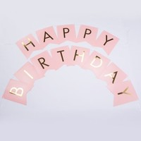 Pink Gold Foil Happy Birthday Party Pennant Banner Garland Decoration (8FT) - Walmart.com