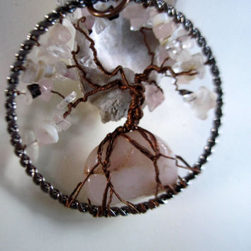 Rose Quartz Tree of Life, Tree of life, Wrapped Trees, Handmade Jewelry, Wall Art, Sun Catcher, Healing, Breast cancer awareness, Christmas