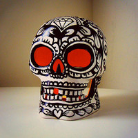 Sugar Skull Ceramic Votive Holder Day of the Dead Halloween Lantern Hand Painted Black White Tattoo Sacred Heart Roses