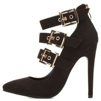 Buckled Strappy High Heels by Charlotte Russe