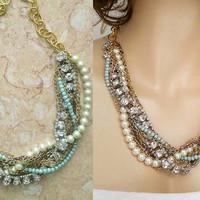 Chunky Pearl Rhinestone Necklace, Bridesmaids Statement Necklace, Bridal Bib Necklace, Wedding Jewelry,