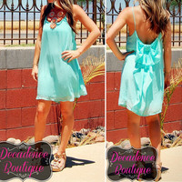 MINT Sexy Dating Vacation Party Club Beach Chiffon Quality Bow Back Dress SMALL