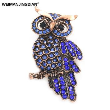 lot of 2 pcs Factory Direct Sale High Quality Vintage Dark Blue Owl Pin Brooch Pins for Women in Gold Color Plated