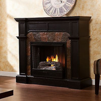 Wood Engraved Fireplace Antiqued Corner Wall Gel Fuel Stone Surround LivingRoom