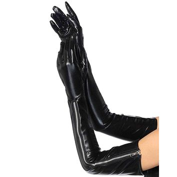 Wet Look Zipper Gloves