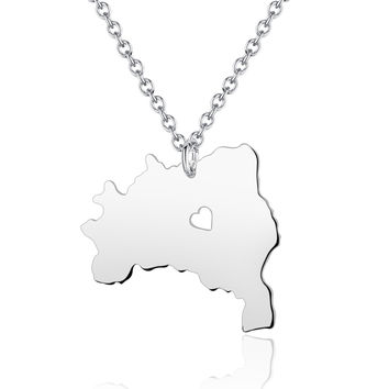 I heart Brazil Country Map Necklace in Handmade - Brazil Pendant - Country Map Charm