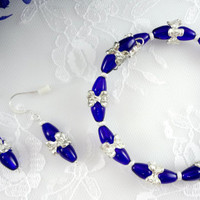 Blue memory wire bracelet earring set, blue & silver jewelry, jewelry set