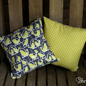 "Pair of Pillow Covers with Yellow Bird & Polka Dot print 14"" x 14"" (Inserts Not Included) for Lounge / Bedroom / Office"