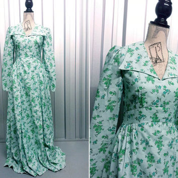 Vintage Pale Blue Floral Maxi Dress Bohemian Dress Boho Long Sleeve Maxi Dress Collared Dress Long floral dress 1970s clothing Empire Line