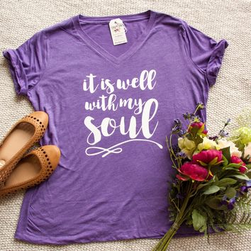It is Well With My Soul Relaxed Ladies Vneck