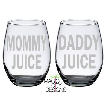 SET OF 2 Mommy Juice and Daddy Juice SILVER 21 OZ Stemless Wine Glasses