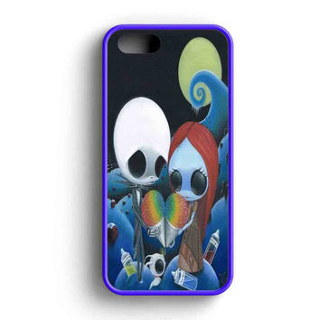 Jack And Sally Nightmare Before Christmas Rainbow Ice Cre iPhone 5 Case iPhone 5s Case iPhone 5c Case