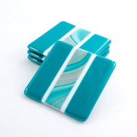 Fused Glass Drink Coasters - Set of 4 - Teal Home Decor - Modern Barware - Coffee Table Decorations - Bar Accessories - Unique Hostess Gift
