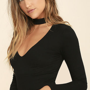 Whispers in the Dark Black Long Sleeve Crop Top