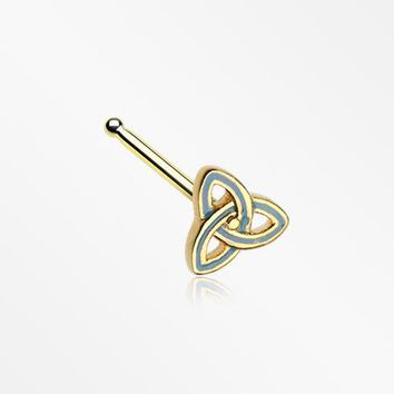 Golden Triquetra Trinity Knot Nose Stud Ring