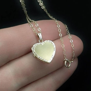 "14K Solid GOLD Locket Engraved HEART Pendant Charm Gold Filled 22"" Necklace CHAIN, Romantic Womens Vintage Jewelry"