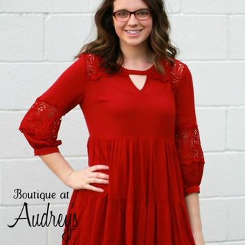 Burgundy Red Dress or Tunic with Keyhole Neckline and Lace Detail