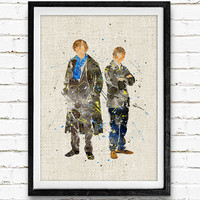 Mr. Holmes and Dr. Watson Watercolor Print, Sherlock Baby Nursery Room Art, Minimalist Home Decor Not Framed, Buy 2 Get 1 Free!