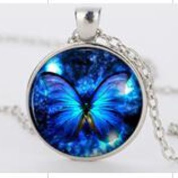 Round Blue Butterfly Pendant Necklace For Women