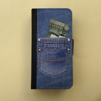 iPhone 4 iPhone 5 case Samsung Galaxy S3 S4 wallet style case, iPhone wallet, book style, Samsung iPhone 5 flip case - Jeans Denim