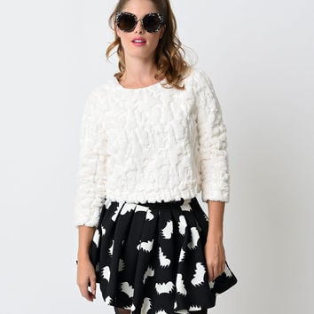White Sequin Fuzzy Long Sleeved Sweater