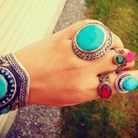 Turquoise ring- Afghan  stone ring- Cocktail ring-Saddle Rings.Silver Rings.Kazakh Jewelry.Nepalese Jewelry.Tibet Jewelry.Buddhist