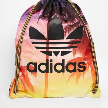 Adidas Originals Drawstring Backpack in Palm Print