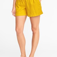 "Mid-Rise Pull-On Linen-Blend Shorts for Women (4"")
