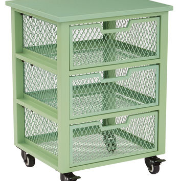 Office Star Clayton 3 Drawer Rolling Cart in Green Metal Finish Frame Fully Assembled [CLY03AS-6]