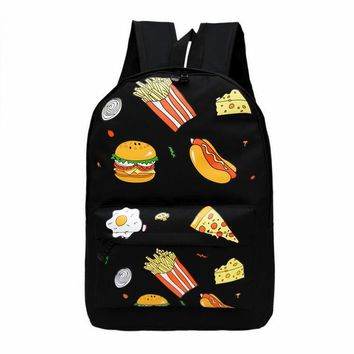 Rdywbu Cartoon Fries Hamburg Egg Sandwich Pizza Hot Dog Printed Student Graffiti School Bag Teenagers Travel Backpack SJ252