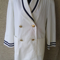 Authentic Christian Dior coat white double breasted size 8 gold buttons designer rain coat jacket navy