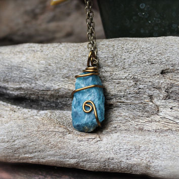 Blue Apatite Necklace - Raw Stone Jewelry - Blue Stone Necklace - Wiccan Jewelry - Bohemian Jewelry - Boho Necklace - Gypsy Style Pendant