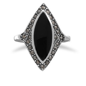 Marquise Black Onyx with Marcasite Edge Ring