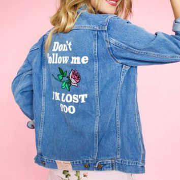 Embroidered women's denim jacket female