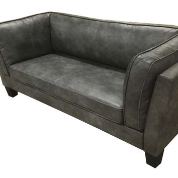 Skien Flared Arm Grey Leather Sofa