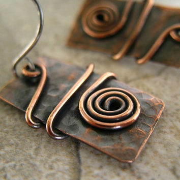 Copper Earrings, Mixed Metal Jewelry, Rectangle Earrings, Rustic