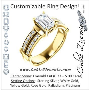 Cubic Zirconia Engagement Ring- The Rachana (Customizable Emerald Cut Design with Wide Split-Pavé Band and Euro Shank)