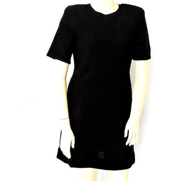 Black knit designer dress / size 12 / 14 / 80s Steve Fabrikant black dress / 1980s black knit career / travel dress  / size L