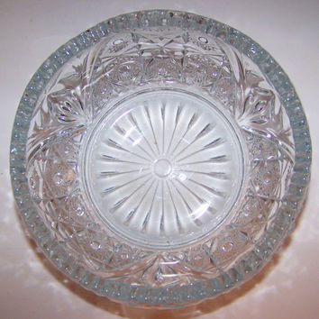 "Vintage American Brilliant, Pressed Glass Bowl, 7""  wide, Wedding Decor, Mother's Day, For Her, Vintage Glass. Perfect Condition"