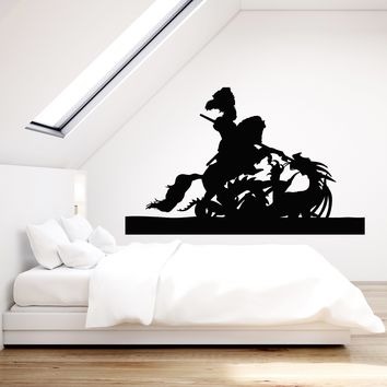 Vinyl Wall Decal Dragon Knight On Horse Spear Boys Room Stickers Mural (g717)