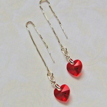 Red Heart Earrings, Red Heart Threaders, Sterling Silver, Long Chain Earrings, Dangle Heart Earrings, Swarovski Heart Earrings, Love Gift
