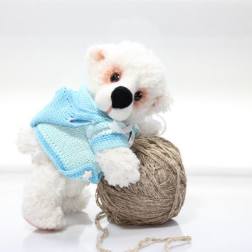 Polar Bear  - Artist Teddy Bear  /  White Bear / Hand Knitted and Felted Bear /  OOAK