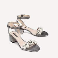 VELVET HIGH HEEL SANDALS WITH PEARL APPLIQUÉ DETAILS