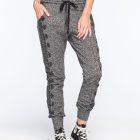 Full Tilt Side Print Marled Womens Jogger Pants Black/White  In Sizes
