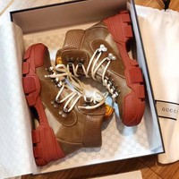 GUCCI Journey logo-appliquéd suede, leather and canvas ankle boots