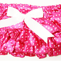 Kutsie Baby Hot Pink with Mini White Polka Dots Satin Bloomers